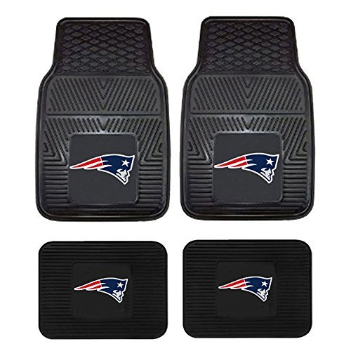 NFL New England Patriots Car Floor Mats Heavy Duty 4-Piece Vinyl - Front and - Patriots Mat New England Floor