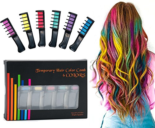 PuTwo Hair Chalk Comb in 6 Vibrant Colors Temporary Hair Dye Temporary Hair Color Non Toxic Hair Color Chalk Comb Hair Coloring Chalk Hair Chalk for Girls Hair Chalk for Kids Hair Chalk Set by PuTwo