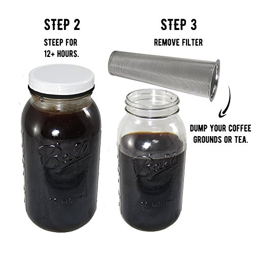 Coffee Maker Jar : Coffee Machines Cold Brew Coffee Maker with 2 Quart Mason Jar and Stainless Mesh eBay
