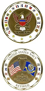 U.S. NAVY RETIRED Challenge Coin-Eagle Crest 2296