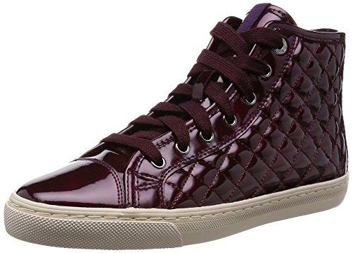 Geox Donna New Club, Women's Hi-Top Sneakers Bordeaux