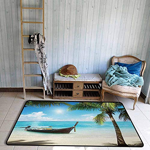 Anti-Static Rug Nautical Small Boat in The Atlantic Ocean Dominican Sunny Sea and Palm Trees Image Breathability W63 xL94.5 Aqua Coconut Green ()