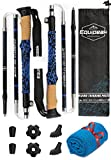 Equipeak Collapsible Folding Hiking & Trekking Sticks - 2 Aluminum Walking Poles with real Cork & EVA Handle Grip SET - Ultra Strong Locking - For Men & Women