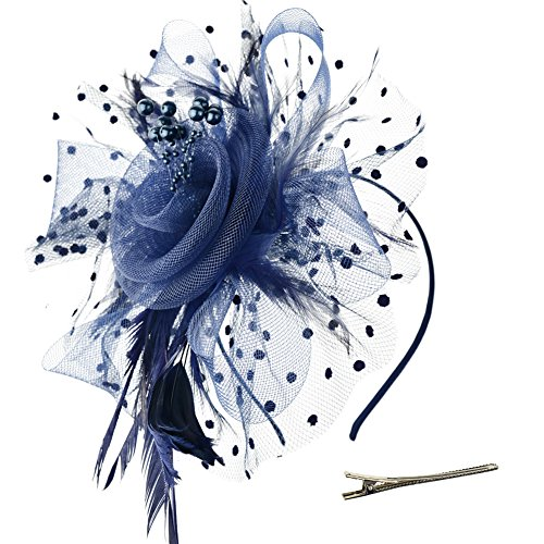DRESHOW Fascinators Hat Flower Mesh Ribbons Feathers on a Headband and a Clip Tea Party Headwear for Girls and Women ()
