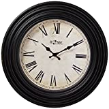 Uniware® Antique Vintage Wall Clock, Roman Numeral Design, 20 x 2.2 Inch (Black I), Large