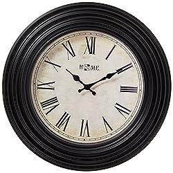 Uniware Antique Vintage Wall Clock, Roman Numeral Design, 20 x 2.2 Inch (Black I), Large