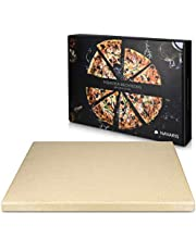 Navaris XL Pizza Stone for Baking - Cordierite Pizza Stone Plate for BBQ Grill Oven - Cook and Serve Pizza Bread Cheese - Rectangular, 15 x 12 x 0.6in