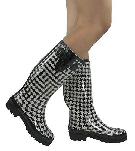Emma Nikki Tall Mid Calf Classic Rain Boots Waterproof Rubber, Black White Houndstooth, 10