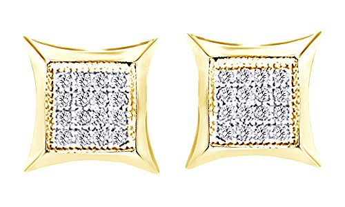 10K Solid Yellow Gold Round Cut White Natural Diamond Hip Hop Stud Earrings (0.18 Cttw) by wishrocks