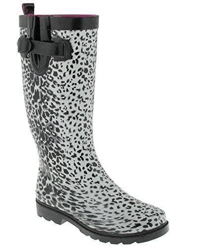 Capelli New York - Botas De Lluvia De Goma Con Estampado De Leopardo Con Textura Brillante, Blanco, Combinado