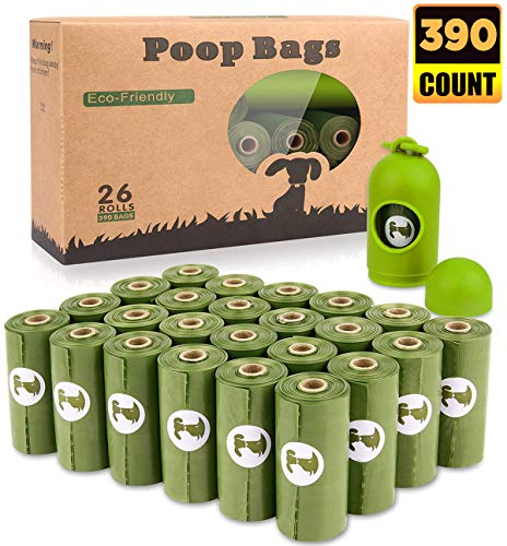 BOTEWO Dog Poop Bag 26 Rolls (390 Counts), Biodegradable Dog Waste Bags with 1 Free Dispenser, Eco-Friendly Leak Proof Pet Waste Disposal Refill Bags (Scented)