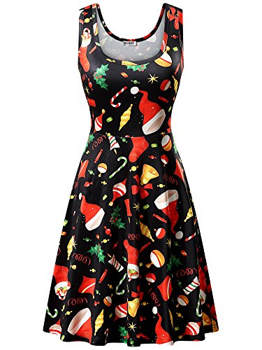 Womens Christmas Fancy Dress Outfits (HUHOT Black Dresses, Women Xmas Gift Print A Line Flared and Fit Christmas Party Dress (X-Large, Black Christmas)