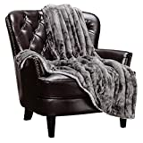 Chanasya Cloud Print Reversible Velvet Fleece Bed Blanket - for Couch Bed Sofa Chair Day Nap - Super Soft Cozy Snuggly Comfort Chick Plush Light Weight Sherpa Blankets - Twin - Grey