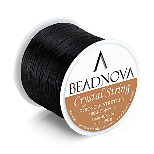 BEADNOVA 1mm Elastic Stretch Polyester Crystal String Cord for Jewelry Making Bracelet Beading Thread 60m/roll (Black) (Black Beading)