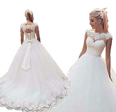 Jdress Women\'s Cap Sleeve Wedding Dresses 2019 Plus Size ...