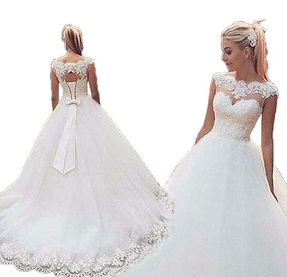 Jdress Womens Cap Sleeve Wedding Dresses 2019 Plus Size Ball Gown