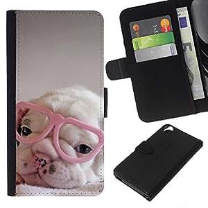 Planetar® Modelo colorido cuero carpeta tirón caso cubierta piel Holster Funda protección HTC Desire 820 ( Puppy Pink Cute Sweet Heart Glasses )