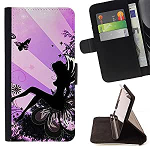 Momo Phone Case / Flip Funda de Cuero Case Cover - Lady Butterfly Tinta Mujer - HTC One A9