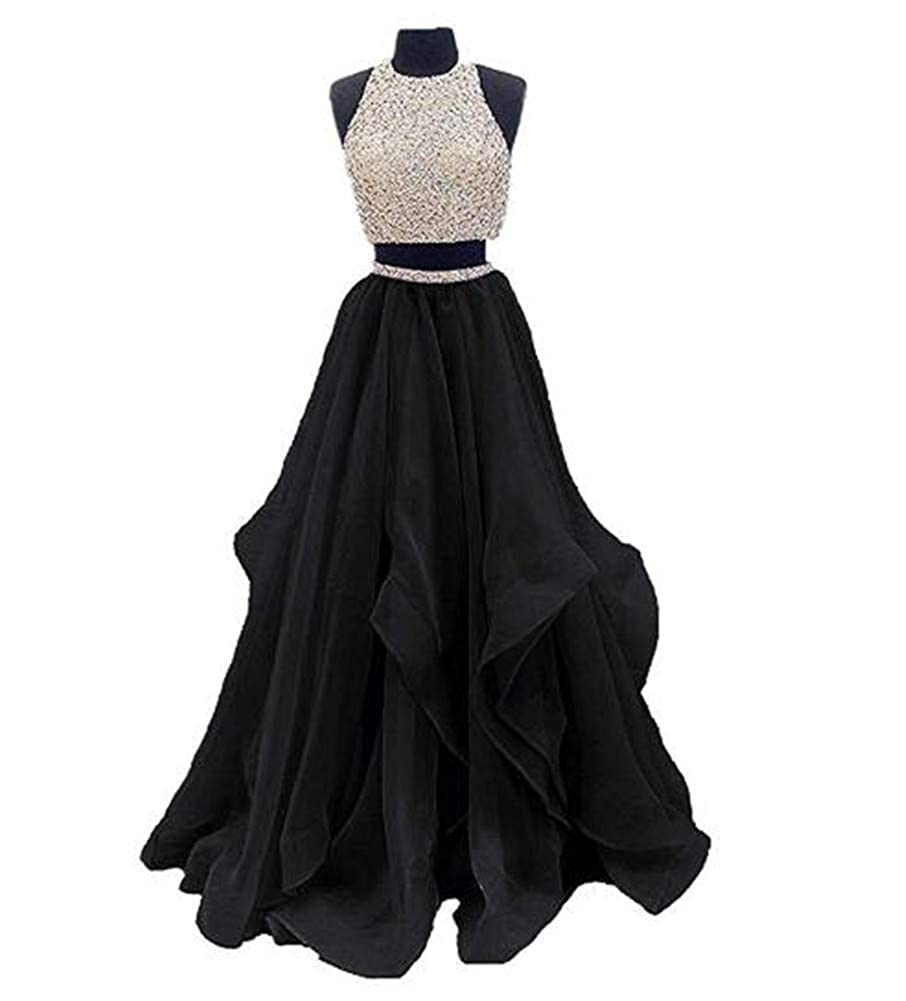 Black Yuki Isabelle Women's Two Pieces Beaded Keyhole Back Evening Gown Floor Length Organza Prom Dress