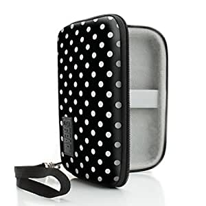USA Gear Protective Travel Case for Apple Watch - Weather Resistant Carrying Case for Watch , Band , Charging Cable , & Accessories - Smart Watch Holder with Wrist Strap Lanyard - Polka Dot