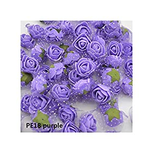 Luccaful 50/100 pcs 2cm Mini PE Foam Flower Fake Artificial Rose for DIY Handmade Wedding Party Decor Scrapbooking Crafts Gift Box 8Z,PE18 Purple,50pcs 79