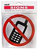 """The sign very clealry depicts a cell phone, surrounded by a red circle with a red line through it. It means either """"no cell phones"""", or """"turn off cell phones"""". Either way, it's a great idea for places like the courthouse, the church, classroo..."""