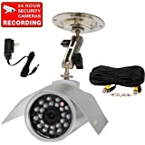 VideoSecu Outdoor CCD CCTV Infrared Weatherproof Bullet Surveillance Camera Night Vision Video 420 TVL 6mm Lens with Bonus Power Supply, Video Power Cable and Free Secuirty Warning Decal 1T1