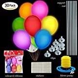 LED Balloons Flash Lights Mixed Color with Support Rod & Sticker & Blows Pump & Coloured Ribbon Blinking for Parties,Birthday,Wedding Party,Lasts 8-24 Hours(30 Pcs)