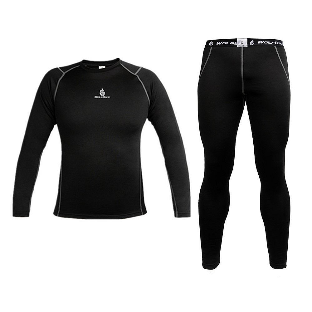 WOLFBIKE Men Thermal Fleece Compression Base Layer Shirt Leggings Tights Set