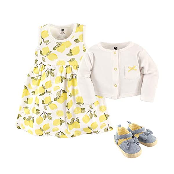 Hudson Baby Girls' Cotton Dress, Cardigan and Shoe Set