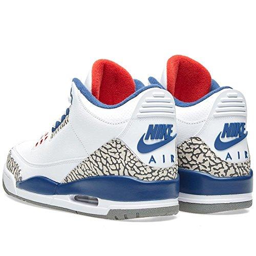 Nike Air Jordan 3 Rétro Hommes Top Basketball Baskets 136064 Baskets Chaussures Blanc / True Blue