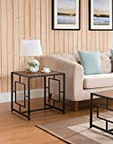 Indoor Multi-Function Accent Table Study Computer Home Office Desk Bedroom Living Room Modern Style End Table Sofa Side Table Coffee Table Black metal frame side table