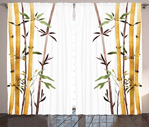 Ambesonne Bamboo House Decor Curtains, Bamboo Grove Calm Your Mind Slow Down Zen Relax Hand Drawn Style Art, Window Drapes 2 Panel Set for Living Room Bedroom, 108 W X 84 L Cream Brown White For Sale