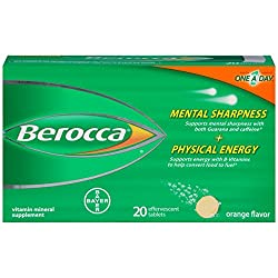 Berocca Flavor Effervescent Vitamin Mineral Supplement Tablets, Orange, 20 Count