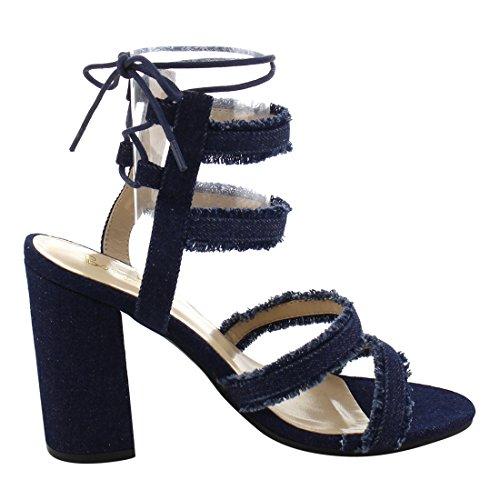 Bonnibel Fi92 Womens Tacco Grosso Denim Cinturino Alla Caviglia Vestito Con Lacci Blu Sandali