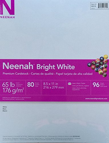 Neenah Bright White Cardstock, 65 lb, 8-1/2 x 11 in, Pack of 80 by Neenah