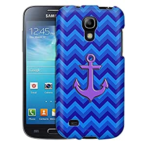Samsung Galaxy S4 Mini Case, Slim Fit Snap On Cover by Trek Anchor on Chevron Zig Zag 2 Tone Blue Case