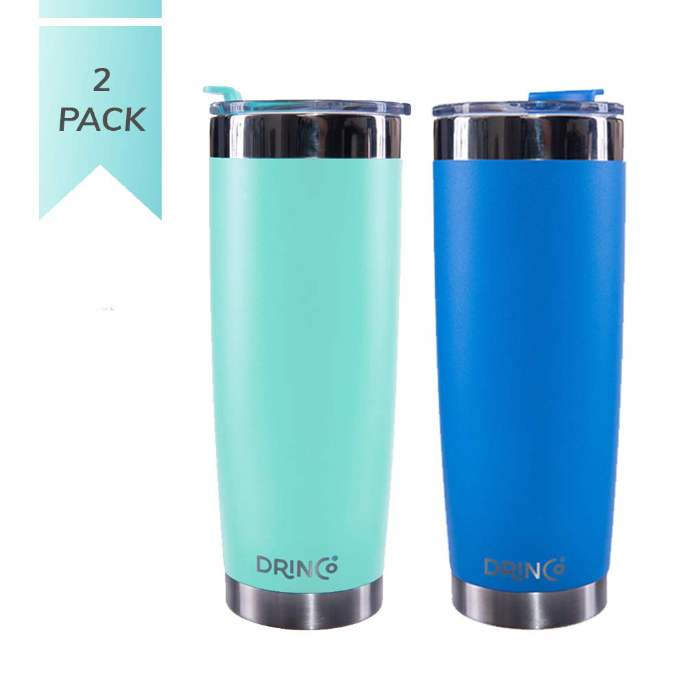 Drinco - Stainless Steel Tumbler | Double Walled Vacuum Insulated Mug With Spill Proof Lid For Hot & Cold Drinks | Aqua Blue | Perfect for Hiking, Camping & Traveling | BPA Free | 20oz Twin pack by Drinco