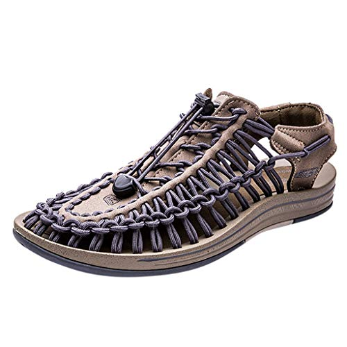VonVonCo Summer Crew Shoes Men's Fashion Casual Summer Breathable Beach Shoes Outdoor Woven Flat Sandals Brown