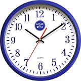 "Office + Style 13"" Silent Quartz Wall Clock with Anti-Scratch Cover- Blue"