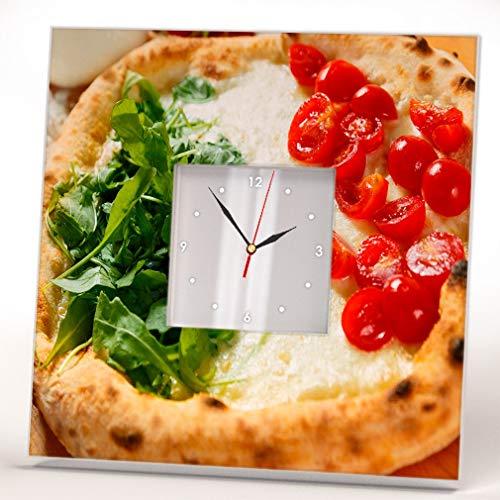 Pizza like Italian Flag Wall Clock Framed Mirror Food Fan Art Pizzeria Cafe Decor Home Design Gift -