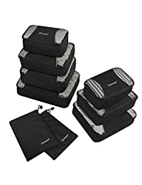 Gonex Packing Cubes Set 9PCs Travel Organizers Luggage Organizers Pouches Including Laundry Bag Black