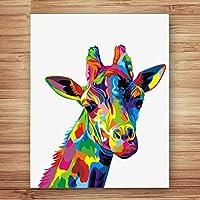 LISYANG Colorear por Números Jirafa Comiendo Hierba Animales Cuadros Pintados por Números con Colores para Niños Decoración para El Hogar