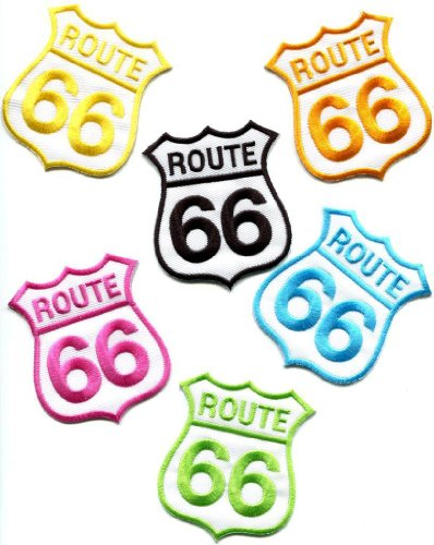 Made Applique (Lot of 6 Route 66 Retro Muscle Cars 60s Americana USA Appliques Iron-on Patches Made of Thailand)