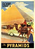 """Camel Horse Cairo Egypt The Pyramids Travel Tourism 12"""" X 16"""" Image Size Vintage Poster Reproduction we have other sizes available"""