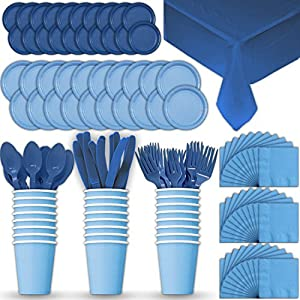 Paper Tableware Set for 24 - Light Blue & Blue - Dinner and Dessert Plates, Cups, Napkins, Cutlery (Spoons, Forks, Knives), and Tablecloths - Full Two-Tone Party Supplies Pack