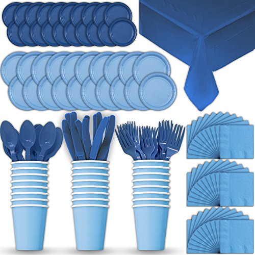 Paper Tableware Set for 24 - Light Blue & Blue - Dinner and Dessert Plates, Cups, Napkins, Cutlery (Spoons, Forks, Knives), and Tablecloths - Full Two-Tone Party Supplies Pack -