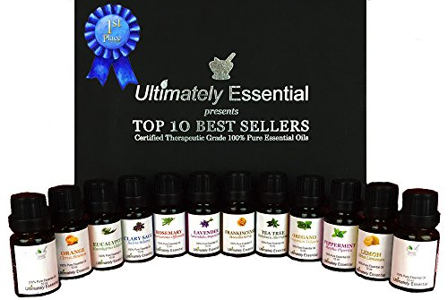 Ultimately Essential Oils Top 10 Gift Set Kit 10ml 2 Empty 2 Blend - Highest Quality 100% Pure Therapeutic Frankincense Clary Sage Lavender Peppermint Rosemary Tea Tree Eucalyptus Lemon Orange Oregano