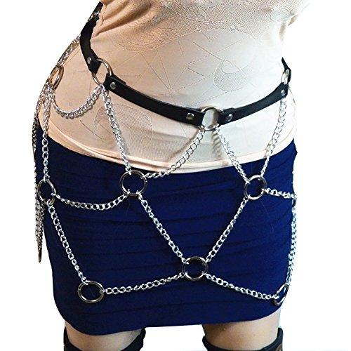 Women Faux Leather Harness Garter Belt Adjustable Waist Leg Body Caged with Punk Metal -