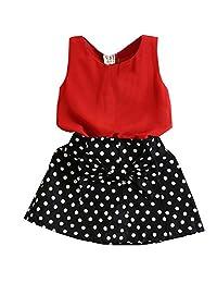 Theplus Little Girls Chiffon Tank Tops+Polka Dot Skirt Sets Outfits